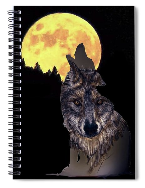 Wolf Howling At The Moon Spiral Notebook