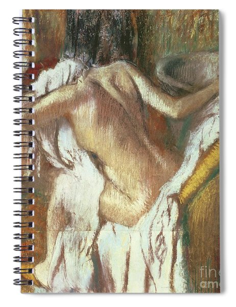 Woman Drying Herself Spiral Notebook by Edgar Degas