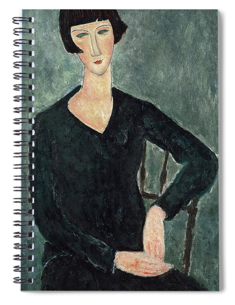 Woman In A Blue Dress Seated Spiral Notebook