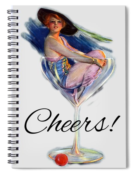 Woman In Wine Glass Spiral Notebook