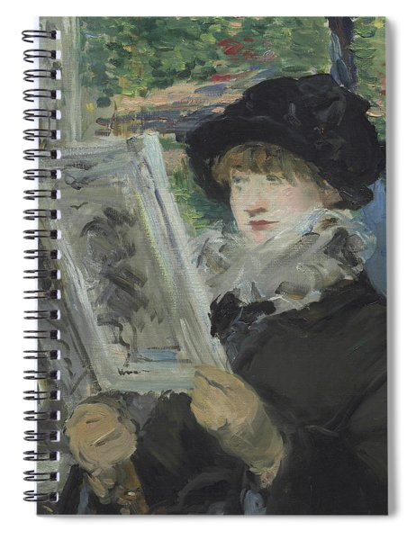 Woman Reading Spiral Notebook