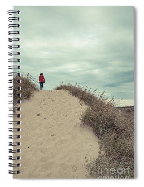 Woman Walking In The Dunes Of Cape Cod Spiral Notebook
