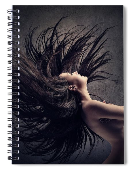 Woman Waving Long Dark Hair Spiral Notebook
