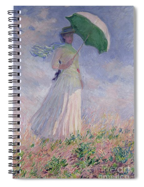 Woman With A Parasol Turned To The Right Spiral Notebook