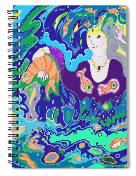 Woman With Fish Spiral Notebook