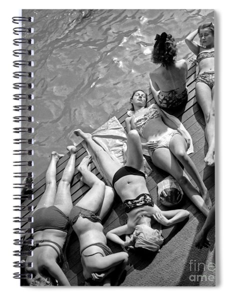 Women In Bikini Tanning At Deligny Swimming Pool In Paris, July 1946 Spiral Notebook