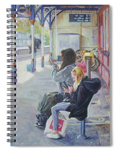 Spiral Notebook featuring the painting Women Texting On Christchurch Station by Martin Davey