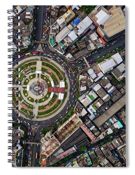 Wongwian Yai Roundabout Surrounded By Buildings, Bangkok Spiral Notebook by Pradeep Raja PRINTS