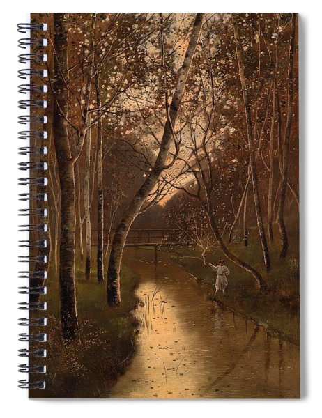 Wooded Landscape With Angler On The Riverside Spiral Notebook