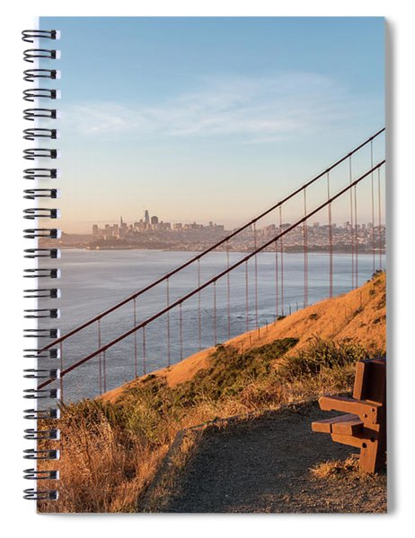 Wooden Bench Overlooking Downtown San Francisco With The Golden  Spiral Notebook