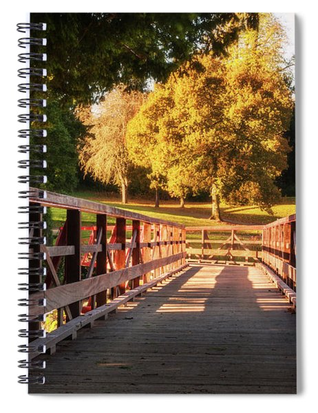 Spiral Notebook featuring the photograph Wooden Bridge On The Rye Water - Maynooth, Ireland by Barry O Carroll