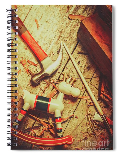 Wooden Model Toy Reindeer. Christmas Craft Spiral Notebook