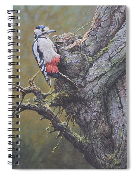 Spiral Notebook featuring the painting Woodpecker On Tree by Alan M Hunt