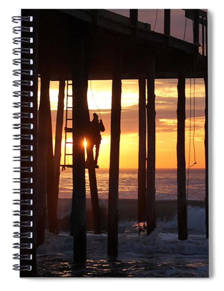 Working On The Pier At Dawn Spiral Notebook