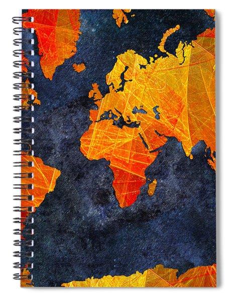 World Map - Elegance Of The Sun - Fractal - Abstract - Digital Art 2 Spiral Notebook
