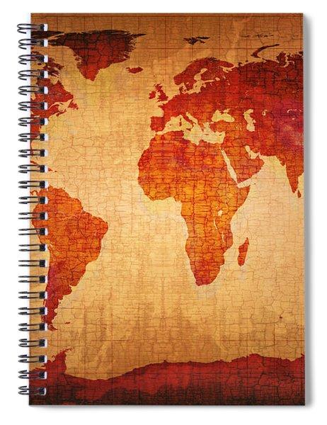 World Map Grunge Style Spiral Notebook