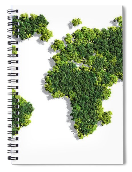 World Map Made Of Green Trees Spiral Notebook