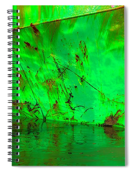 Worn Beached Green Fishing Boat Spiral Notebook