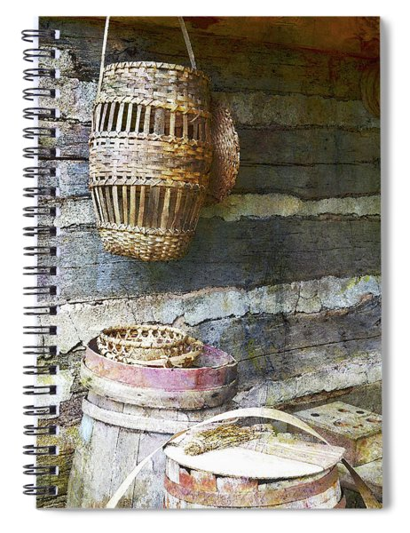 Woven Wood And Stone Spiral Notebook