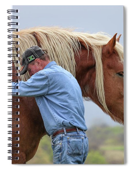 Spiral Notebook featuring the photograph Wrangler Jeans And Belgian Horse by Robert Bellomy