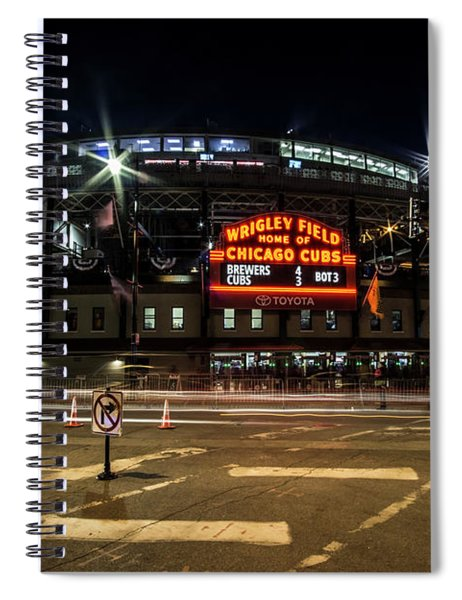 Wrigley Field Marquee At Night Spiral Notebook