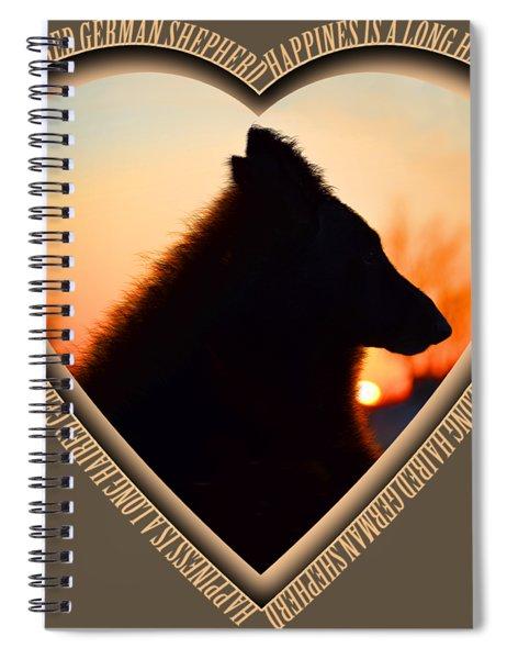 Wuffstar Happiness Is A Long Haired German Shepherd Heart Spiral Notebook
