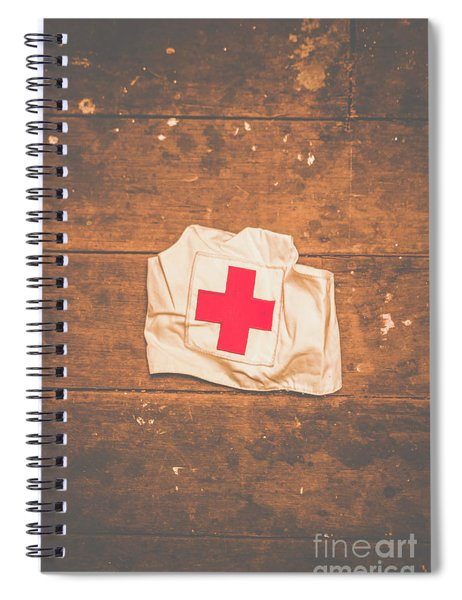 Ww2 Nurse Cap Lying On Wooden Floor Spiral Notebook