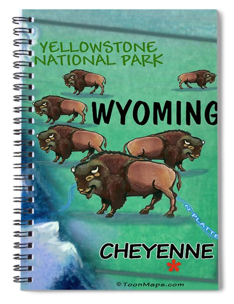Wyoming Fun Map Spiral Notebook