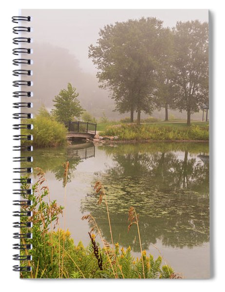 Spiral Notebook featuring the photograph Misty Pond Bridge Reflection #5 by Patti Deters