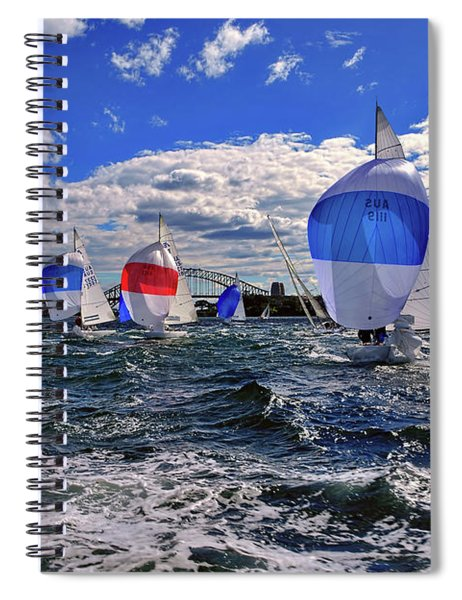 Yachts On The Harbor By Kaye Menner Spiral Notebook