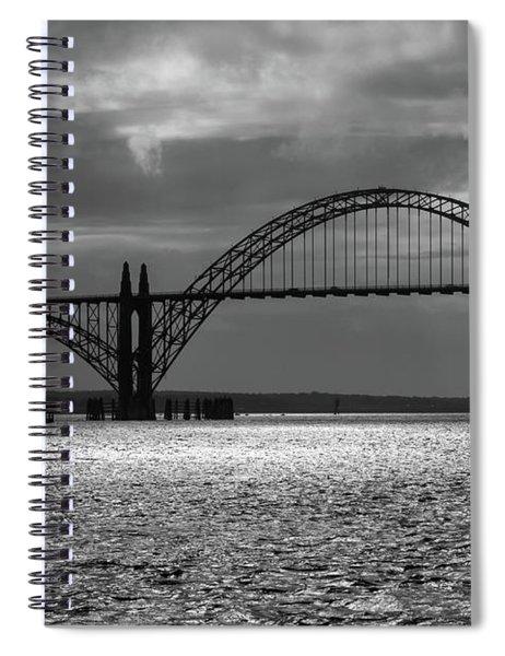 Yaquina Bay Bridge Black And White Spiral Notebook