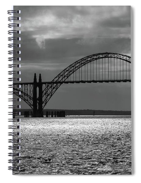 Yaquina Bay Bridge Black And White Spiral Notebook