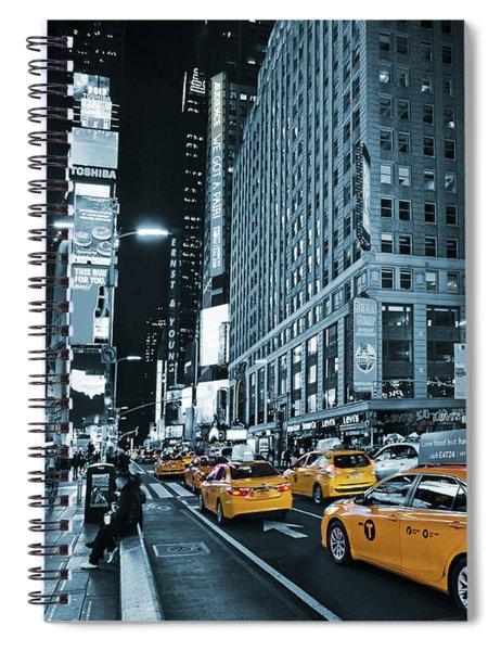 Yellow Broadway At Night - Nyc Spiral Notebook