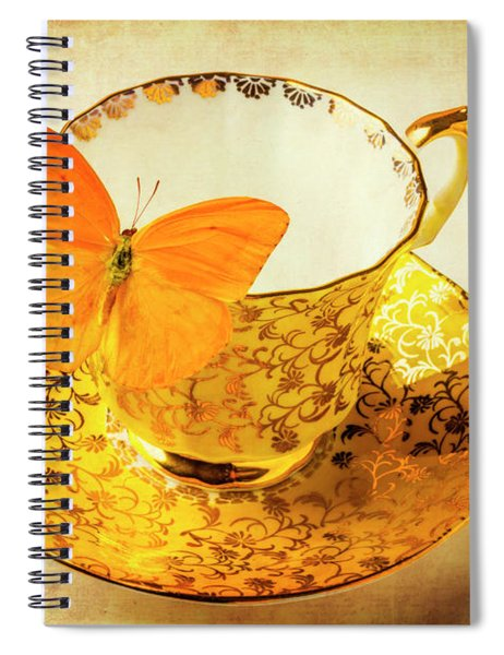 Yellow Butterfly On Yellow Tea Cup Spiral Notebook