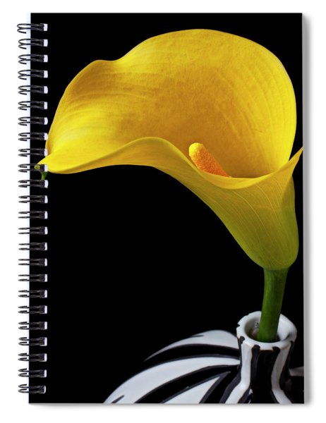 Yellow Calla Lily In Black And White Vase Spiral Notebook