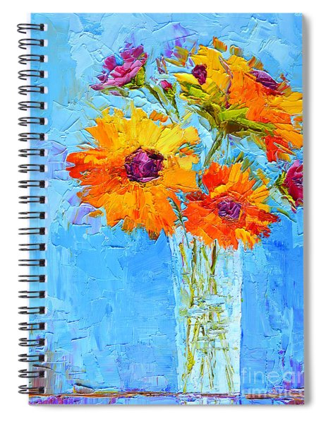 Yellow Daisies Flowers - Peonies In A Vase - Modern Impressionist Knife Palette Oil Painting Spiral Notebook