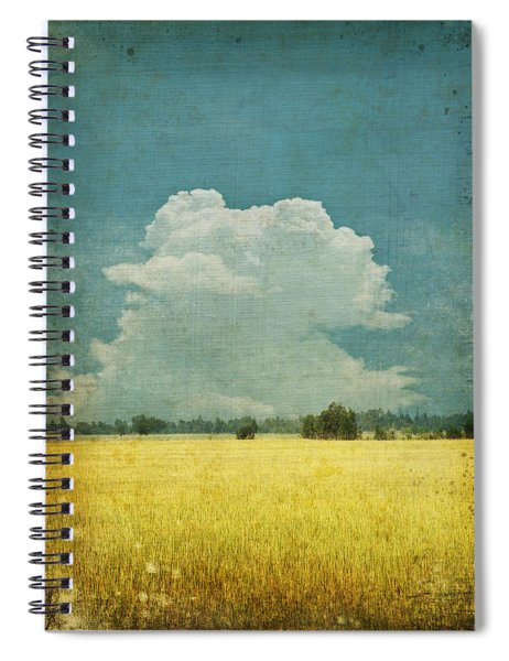 Yellow Field On Old Grunge Paper Spiral Notebook