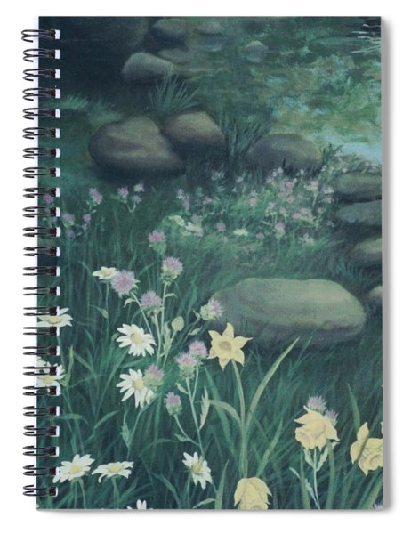 Yellow Flowers In Bed Of Rocks Spiral Notebook