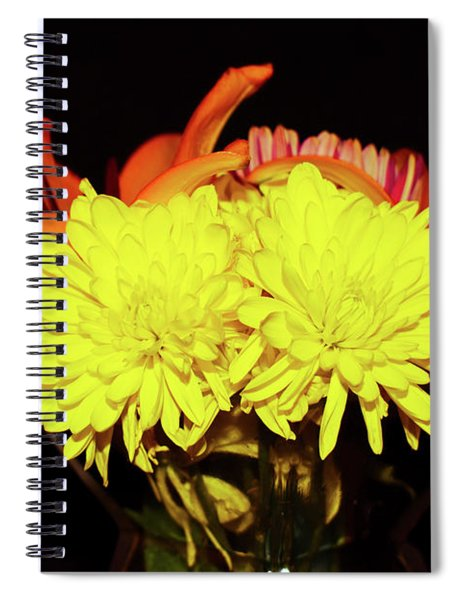 Yellow Mums And Orange Lilies  Spiral Notebook