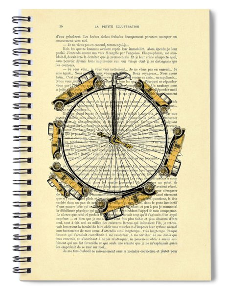 Yellow Oldtimers On A Bicycle Wheel Antique Illustration On Book Page Spiral Notebook