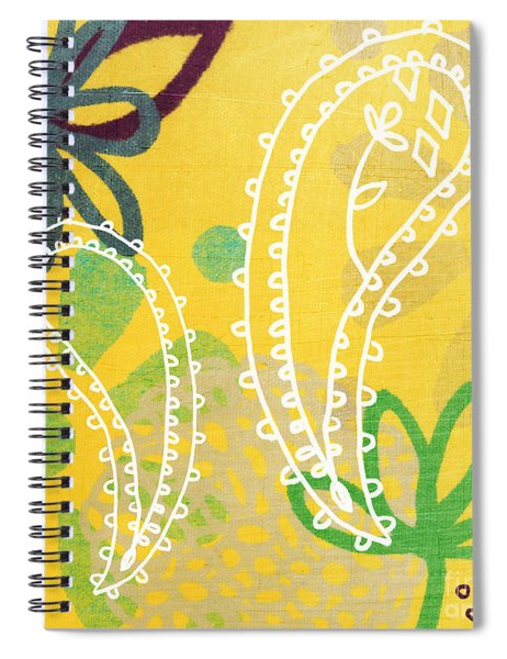 Yellow Paisley Garden Spiral Notebook