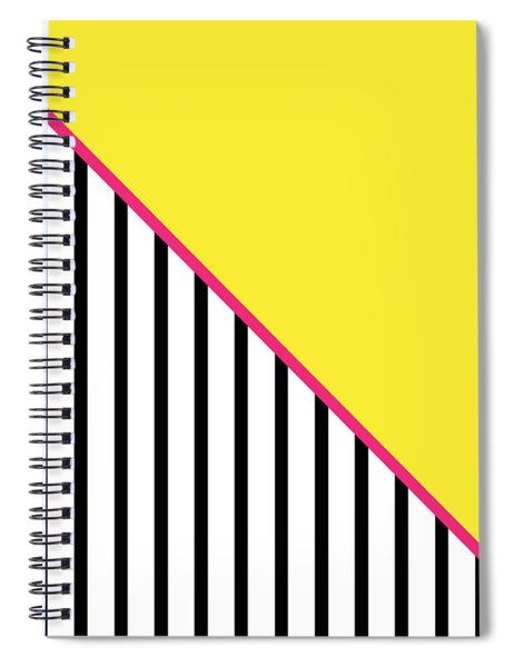 Yellow Pink And Black Geometric Spiral Notebook