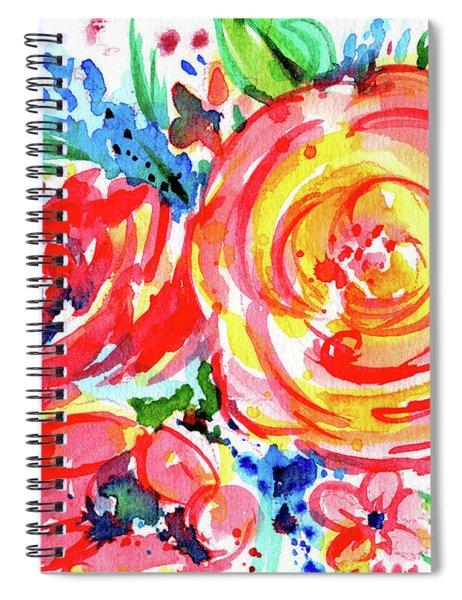 Yellow Rose Red Spiral Notebook