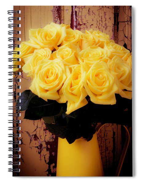 Yellow Roses In Yellow Pitcher Spiral Notebook