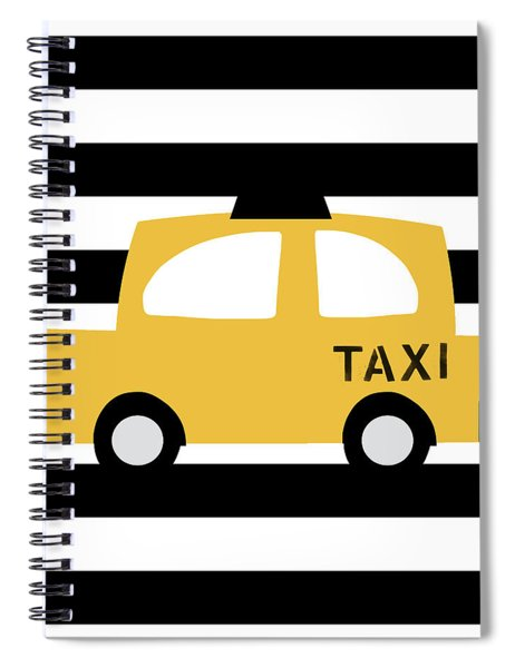 Yellow Taxi With Stripes- Art By Linda Woods Spiral Notebook