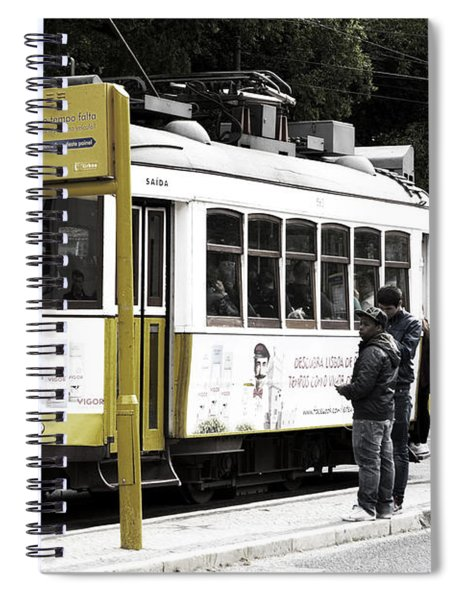 Yellow Tram, Lisboa Spiral Notebook by Lorraine Devon Wilke