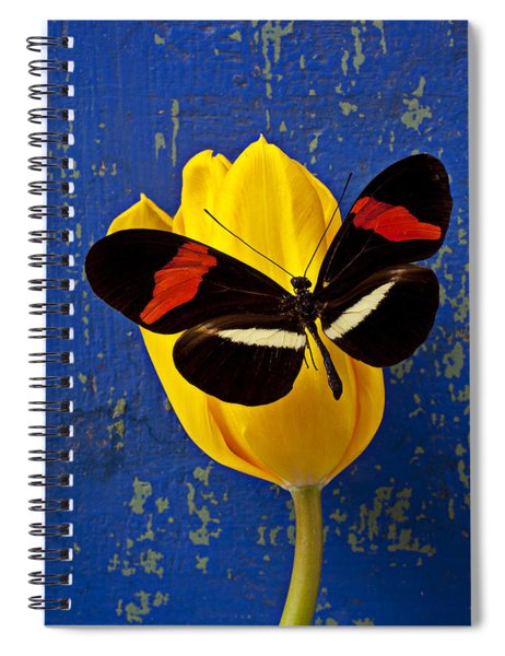 Yellow Tulip With Orange And Black Butterfly Spiral Notebook