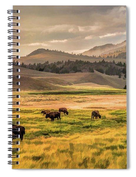 Yellowstone National Park Lamar Valley Bison Grazing Spiral Notebook