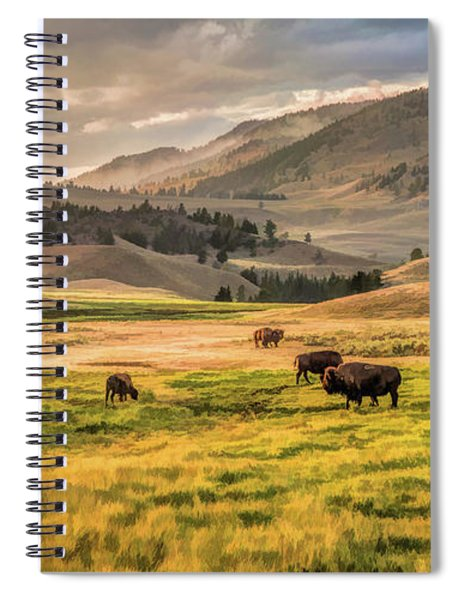 Yellowstone National Park Lamar Valley Bison Grazing Spiral Notebook