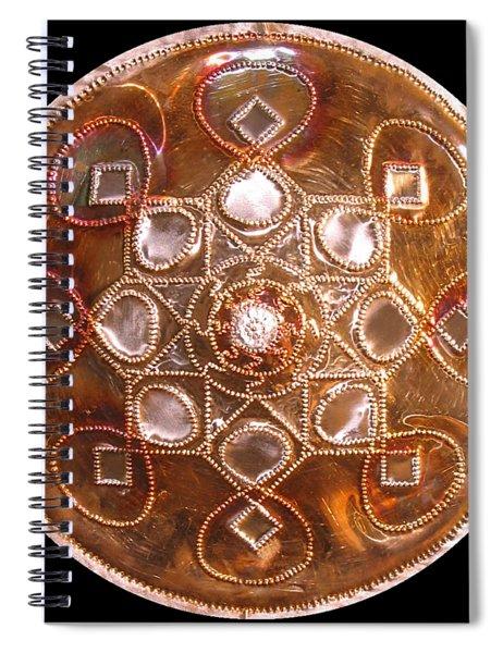 Spiral Notebook featuring the sculpture Yesirah Copper Lightmandala by Robert Thalmeier